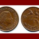 NETHERLANDS 1958 5 CENTS BRONZE COIN KM#181 Europe Queen Juliana
