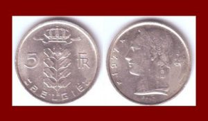 BELGIUM 1977 5 FRANCS BELGIE COIN KM#135.1 Europe - Dutch Legend