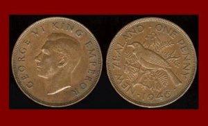 NEW ZEALAND 1946 1 PENNY BRONZE COIN KM#13 Oceana - EMPEROR GEORGE VI