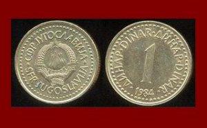 YUGOSLAVIA 1984 1 DINAR COIN KM#86 Europe