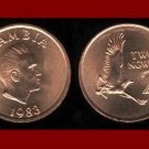 ZAMBIA 1983 2 NGWEE COIN KM#10a Africa - Martial Eagle - XF BEAUTIFUL!