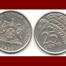 TRINIDAD AND TOBAGO 1998 25 CENTS COIN KM#32 Caribbean - Chaconia Flowers