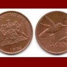 TRINIDAD AND TOBAGO 1996 1 CENT BRONZE COIN KM#29 Caribbean - Hummingbird