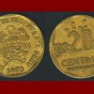 PERU 1993 20 CENTIMOS BRASS COIN KM#306 South America