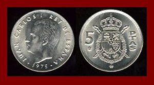 SPAIN 1975(79) 5 PESETAS PTAS COIN KM#807 Europe