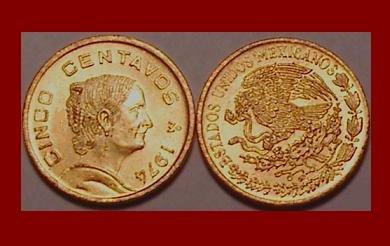 MEXICO 1974 5 CENTAVOS BRASS COIN KM#427 Dona Josefa Ortiz de Dominquez