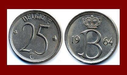 BELGIUM 1964 25 CENTIMES COIN KM#153.1 Europe BELGIQUE French Legend -XF - BEAUTIFUL!