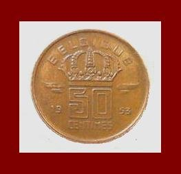 BELGIUM 1953 50 CENTIMES BRONZE COIN KM#144 Europe - BELGIQUE French Legend