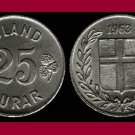 ICELAND 1963 25 ISLAND AUROR COIN KM#11 Europe - LOW MINTAGE