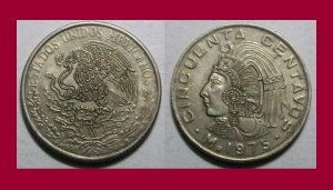 MEXICO 1975 50 CENTAVOS COIN KM#452 - Aztec Emperor Cuauhtemoc