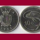 MALTA 1998 10 CENTS COIN KM#96 Europe - Lampuki Fish