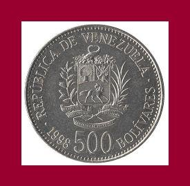 VENEZUELA 1998 500 BOLIVARES COIN Y#79.1 South America - UNC - BEAUTIFUL!