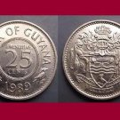 GUYANA 1989 25 CENTS COIN KM#34 South America - XF - Very Shiny! Beautiful!