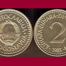 YUGOSLAVIA 1983 2 DINARA COIN KM#87 Europe - XF - Very Shiny! Beautiful!