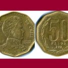 CHILE 2001 50 PESOS COIN KM#219.2 South America - Bernardo O'Higgins Riquelme