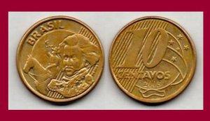 BRAZIL 2003 10 CENTAVOS COIN KM#649.2 South America - Dom Pedro