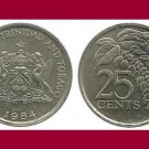TRINIDAD AND TOBAGO 1984 25 CENTS COIN KM#32 Caribbean - Chaconia Flowers