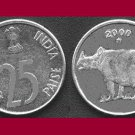 INDIA 2000 25 PAISE COIN KM#54 Eurasia - BU - BEAUTIFUL! - Indian Rhinoceros
