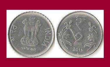 INDIA 2011 2 RUPEES COIN KM#395 - BU - BEAUTIFUL! - Eurasia - Devanagari consonant
