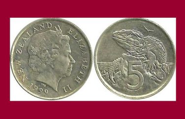 NEW ZEALAND 1999 5 CENTS COIN KM#116 Oceania - XF - Tuatara Lizard