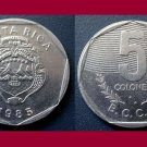COSTA RICA 1985 5 COLONES COIN KM#214.2 Central America - AU - BEAUTIFUL!