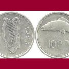IRELAND 1996 10 PENCE COIN KM#29 Europe - BU - BEAUTIFUL! Irish Harp Lire & Atlantic Salmon Fish