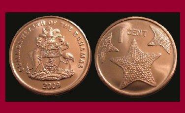 BAHAMAS 2009 ONE 1 CENT COIN KM#218.2 Caribbean - Starfish - UNC, BU BEAUTIFUL!