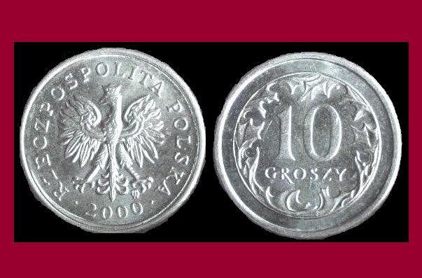 POLAND 2000 10 GROSZY COIN Y#279  - Crowned White Eagle ~ BU BEAUTIFUL!