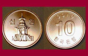 SOUTH KOREA 2010 10 WON COIN KM#103 Asia - Dabotap Pagoda - UNC, BU - BEAUTIFUL!