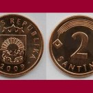 LATVIA 2009 2 SANTIMI COIN KM#21 Europe ~ BEAUTIFUL!