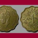 INDIA - BRITISH 1945 1 ANNA WWII COIN KM#537a Eurasia - KING GEORGE VI EMPEROR
