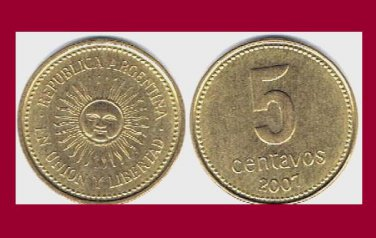 ARGENTINA 2007 5 CENTAVOS COIN KM#109.b South America