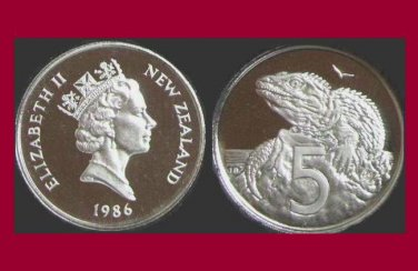 NEW ZEALAND 1986 5 CENTS COIN KM#60 Oceania - Tuatara Lizard
