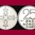 NORWAY 1980 25 ORE COIN KM#417 Crossed Hammers - 4 Crowns - King Olav V - BU - BEAUTIFUL!