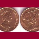 CAYMAN ISLANDS 1987 1 CENT BRONZE COIN KM#87 Caribbean BU - BEAUTIFUL!