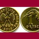 POLAND 2012 1 GROSZ BRASS COIN Y#276  - Crowned White Eagle ~ BU BEAUTIFUL!