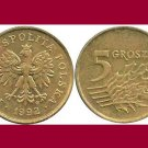 POLAND 1992 5 GROSZY BRASS COIN Y#278 - Crowned White Eagle