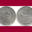 SPAIN 1957 5 PESETAS PTAS COIN KM#786 Europe - Regent Francisco Franco