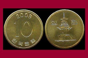 SOUTH KOREA 2006 10 WON BRASS COIN KM#33.2 Asia - Dabotap Pagoda - XF, BEAUTIFUL!