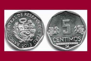 PERU 2013 5 CENTIMOS COIN KM#304.4a South America - BU - BEAUTIFUL!
