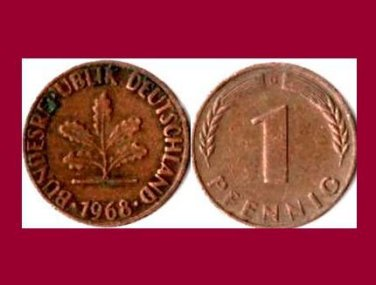 WEST GERMANY 1968(D) 1 PFENNIG COIN KM#105 Europe - Federal Republic of Germany