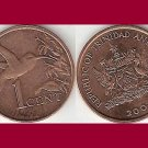 TRINIDAD AND TOBAGO 2001 1 CENT BRONZE COIN KM#29 Caribbean - Hummingbird