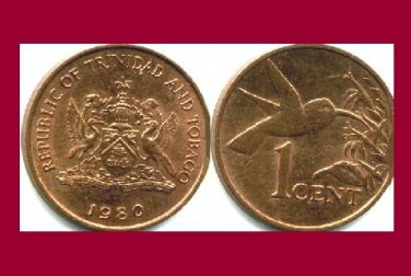 TRINIDAD AND TOBAGO 1980 1 CENT BRONZE COIN KM#29 Caribbean - Hummingbird