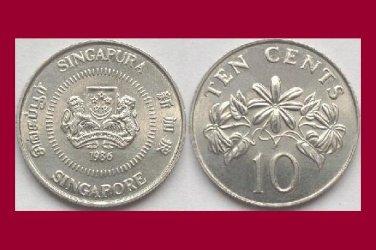 SINGAPORE 1986 10 CENTS KM#51 Asia - XF BEAUTIFUL! - Star Jasmine Flowers