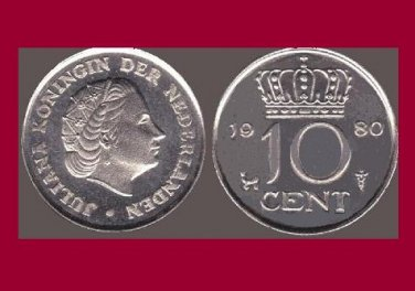 NETHERLANDS 1980 10 CENTS COIN KM#182 Europe - BU - Very Shiny! Beautiful!