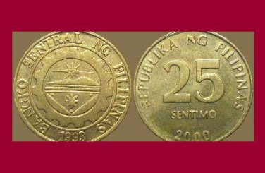 PHILIPPINES 2000 25 SENTIMOS BRASS COIN KM#271 Southeast ASIA - BU - BEAUTIFUL!