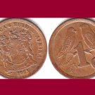 SOUTH AFRICA 1993 1 CENT COIN KM#132 - Bilingual Legend - English Sparrows