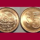 MEXICO 1985 5 PESOS BRASS COIN KM#502 - BU - BEAUTIFUL!