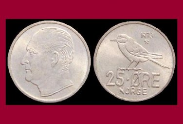 NORWAY 1973 25 ORE COIN KM#407 Europe - Siberian Tit Bird - XF - BEAUTIFUL!