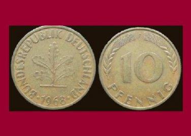 WEST GERMANY 1968 (F) 10 PFENNIG COIN KM#108 Europe - Federal Republic of Germany